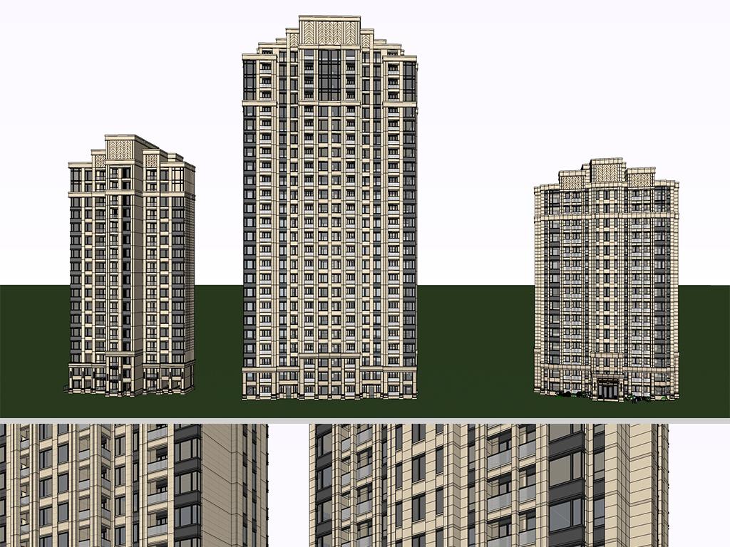 现代新古典高层住宅小区建筑设计效果图商业住宅区景观