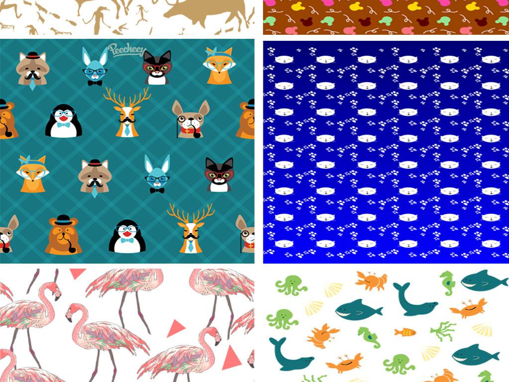 可爱动物手绘背景手绘动物动物手绘卡通动物动物卡通背景底纹矢量底纹