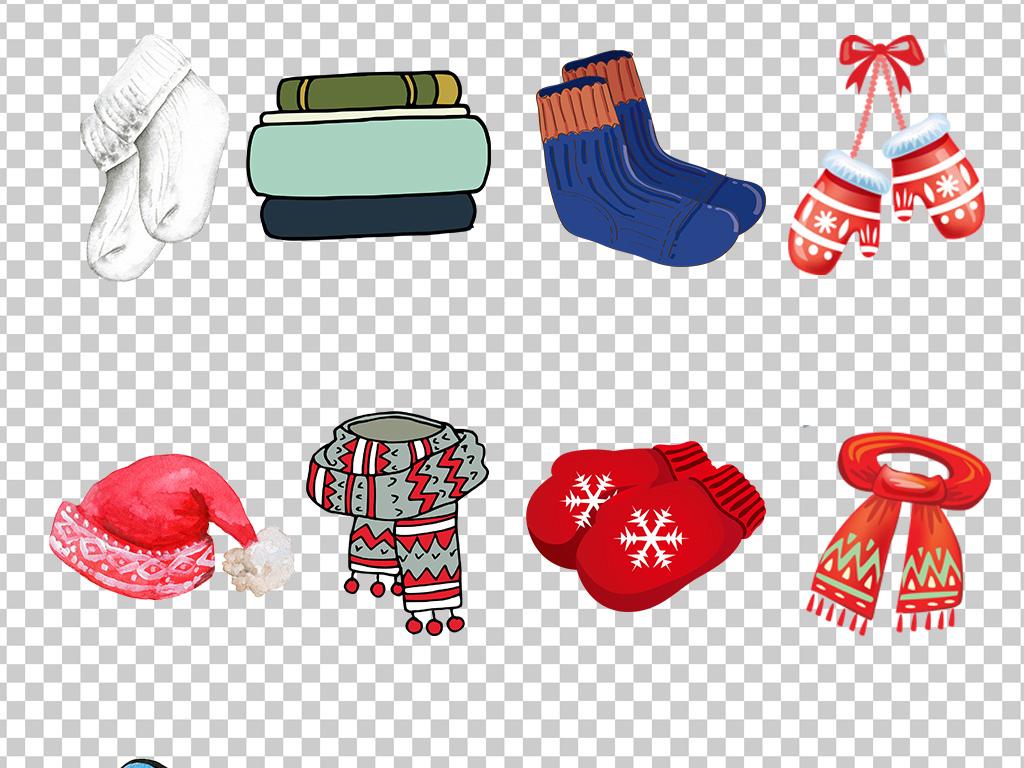 01354冬季保暖装备帽子棉袜围巾手套各式保暖物品免抠素材