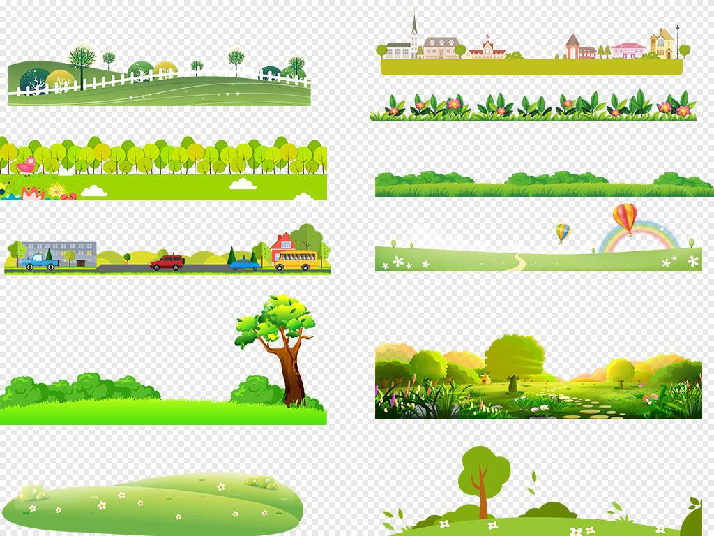 免抠元素 花纹边框 卡通手绘边框 > 卡通绿色草地草坪草丛花草小花
