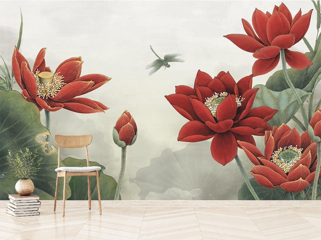 新中式蜻蜓嬉荷花水墨工笔画背景墙图片