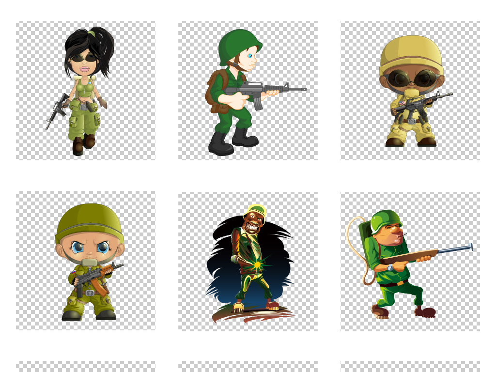 免抠元素 人物形象 动漫人物 > Q版士兵战士ai矢量素材  素材图片参数
