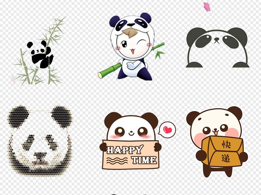 50款可爱手绘卡通熊猫海报素材背景图片png