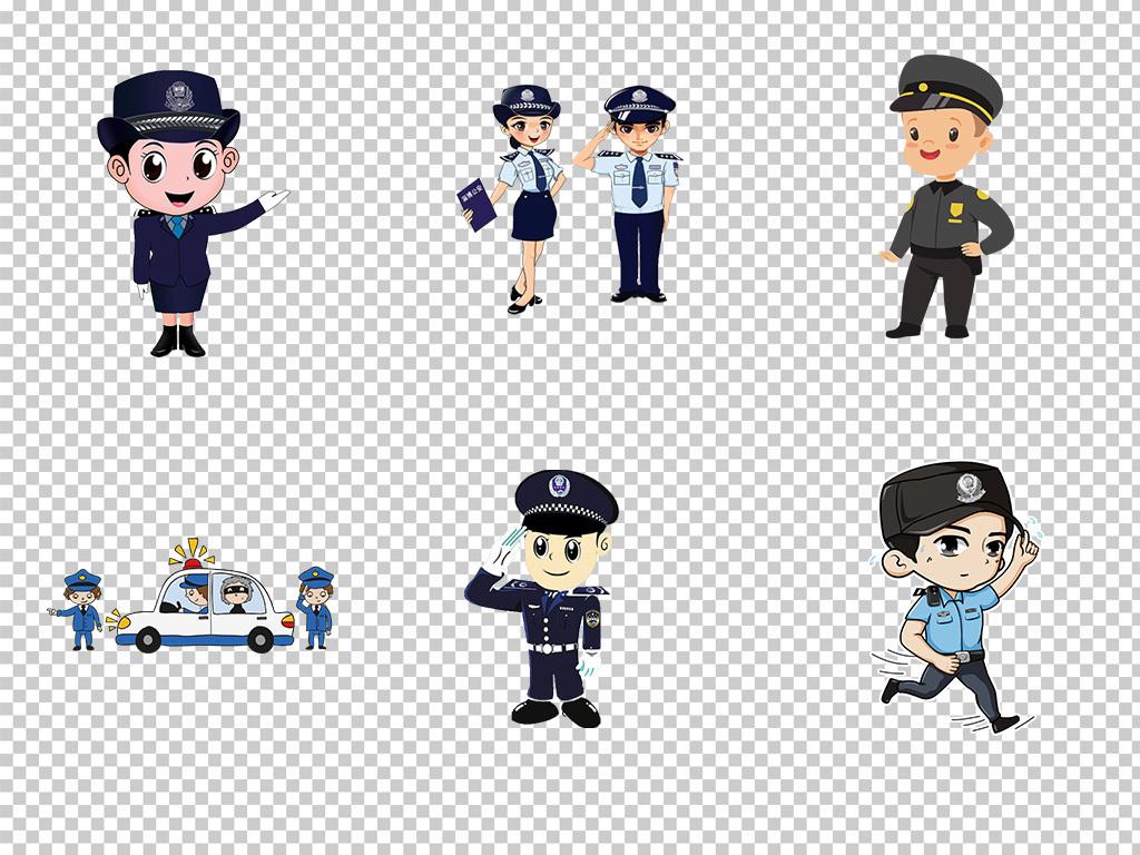 卡通警察公安交警人物警徽海报素材背景png