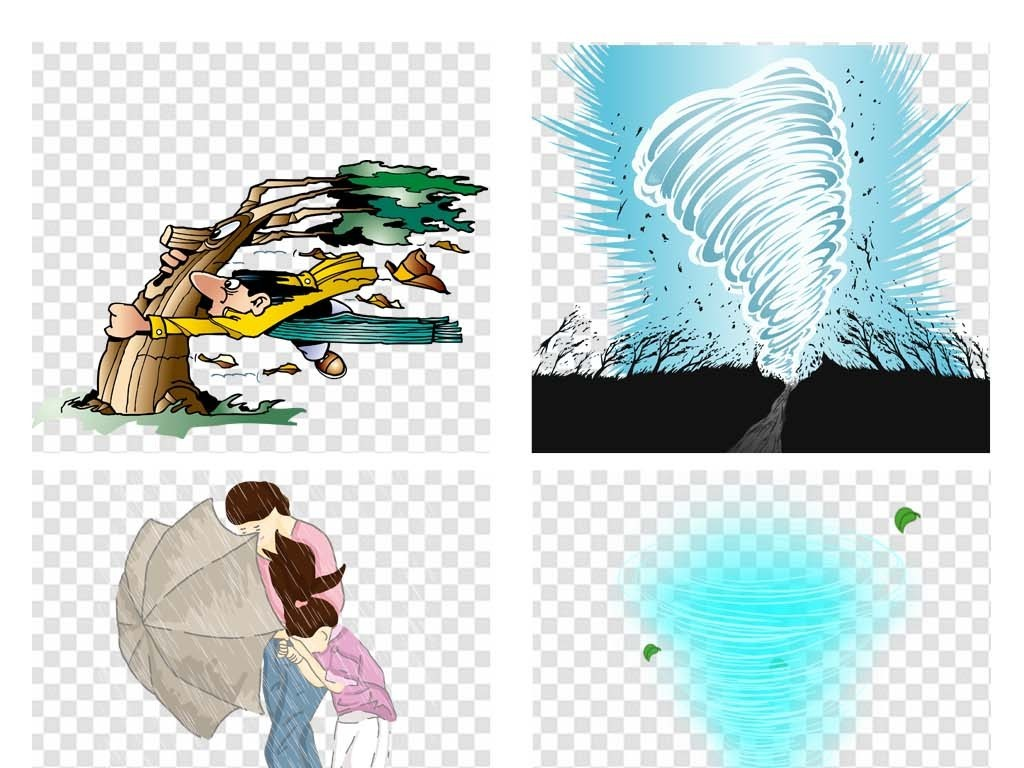 免抠元素 自然素材 气象 > 台风卡通手绘山竹龙卷风暴风海报素材背景