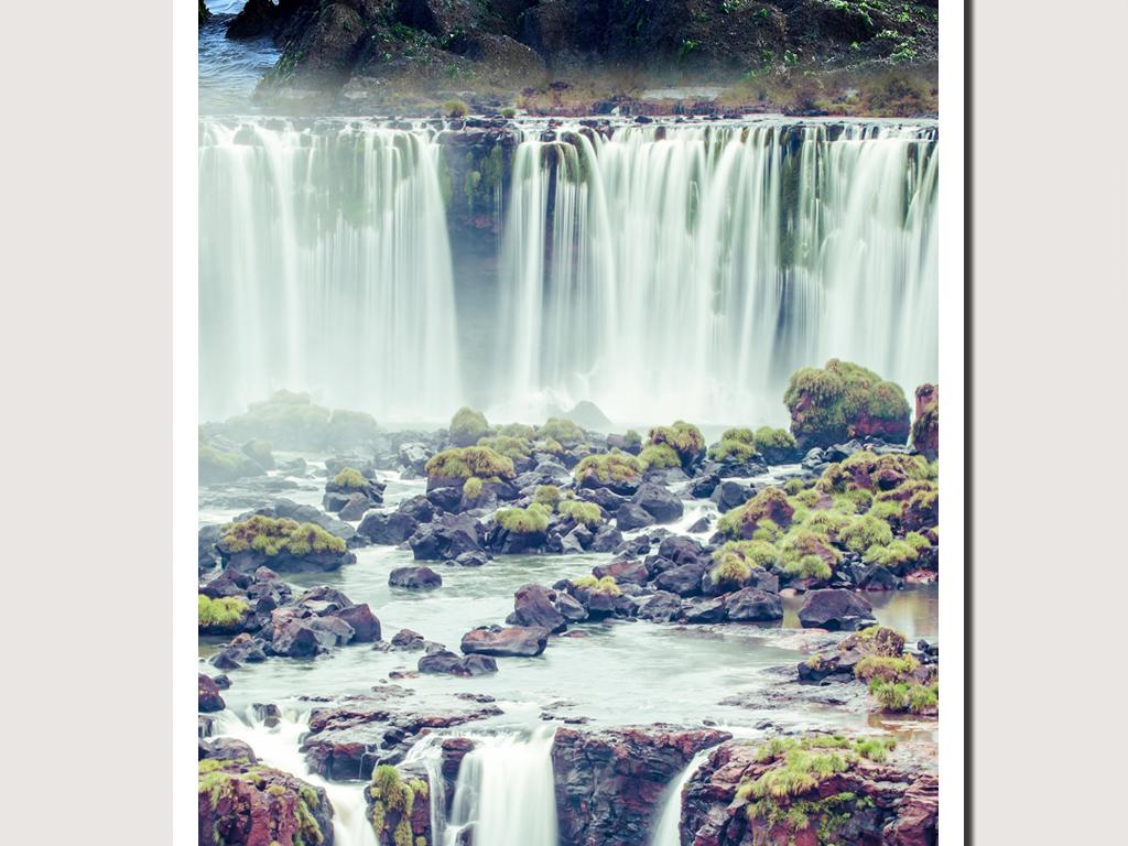 瀑布办公室山水风景画风景晶瓷画客厅装饰画