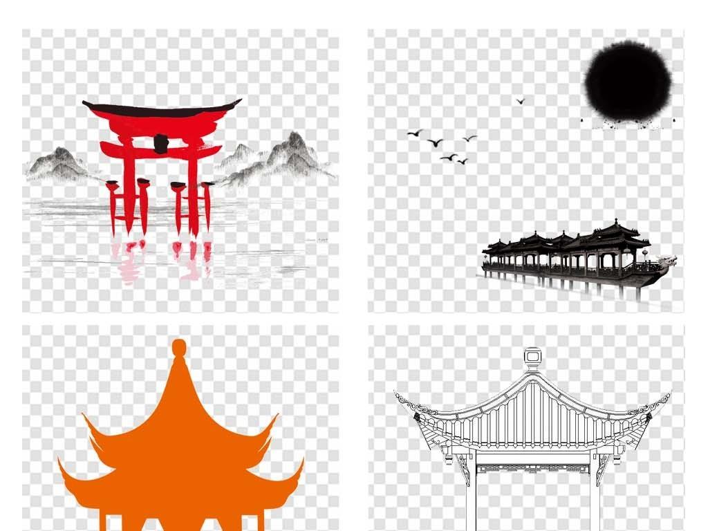 免抠元素 生活工作 城市建筑 > 手绘中国风亭子png素材古代凉亭图片
