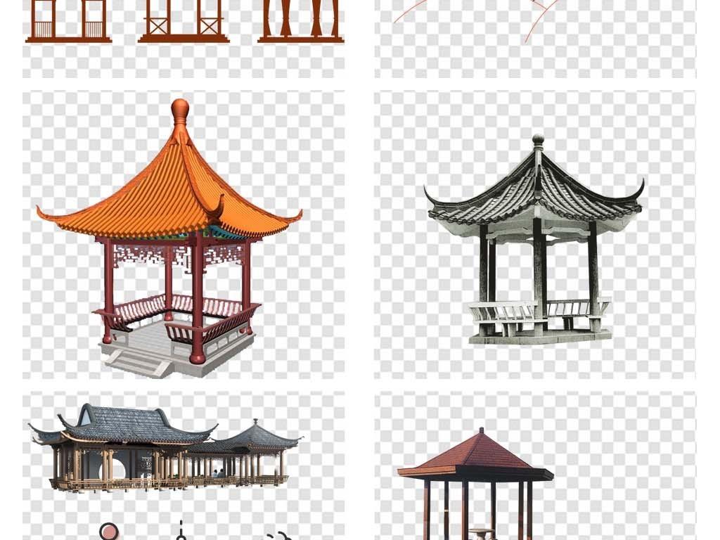 古典中国风水墨亭子古风道具新中式仿古建筑