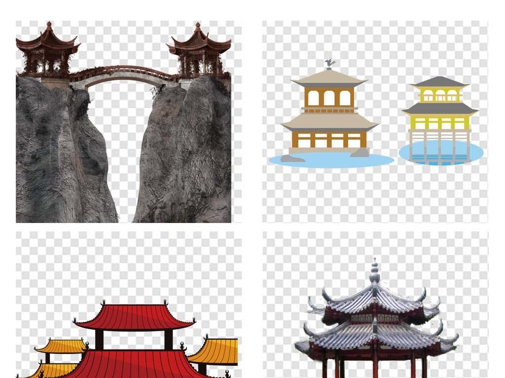 手绘中国风亭子png素材古代凉亭图片屋檐