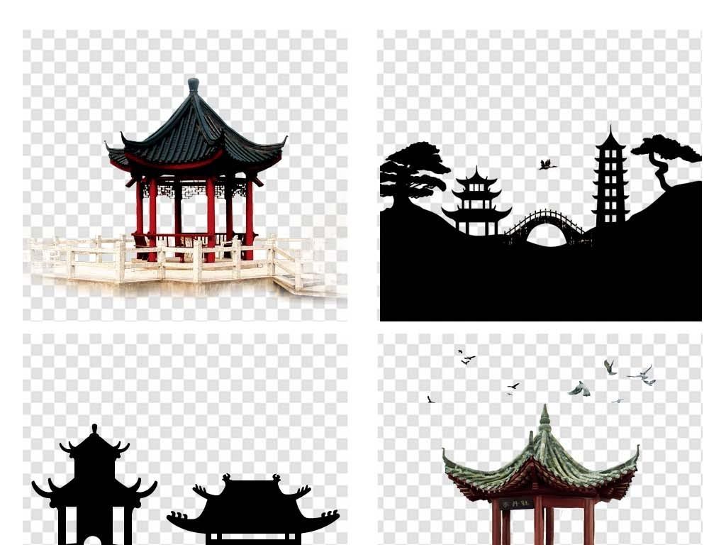 免抠元素 生活工作 城市建筑 > 手绘中国风亭子png素材古代凉亭图片屋
