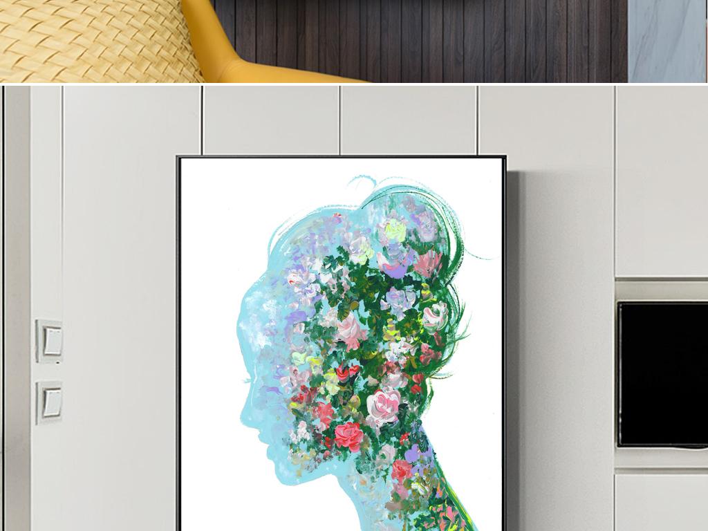 时尚美女手绘油画创意插画模特服装店绿色花卉