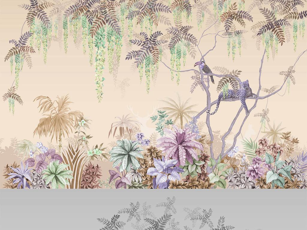 手绘西洋画热带丛林紫藤动物背景图片素材 效果图下载 手绘电视背景墙图大全 电视背景墙编号 18712399