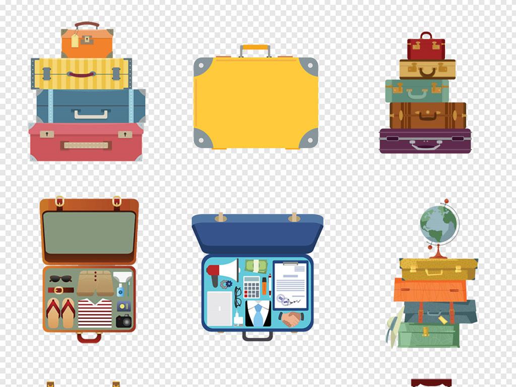 手绘卡通旅游行李箱拉杆箱旅行箱png素材