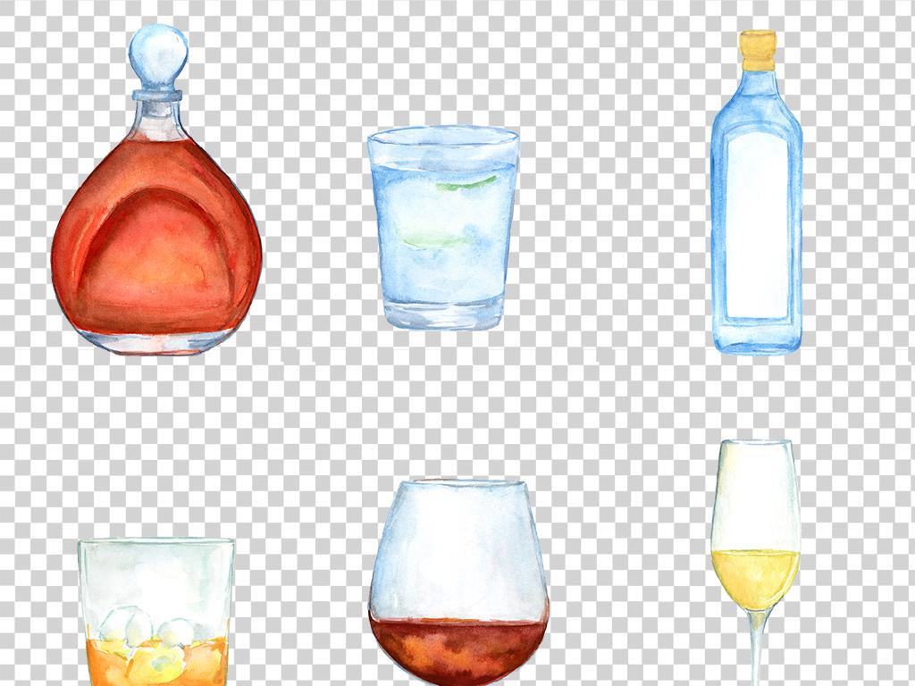 水彩手绘酒瓶酒杯图片素材_模板下载(55.74mb)_居家