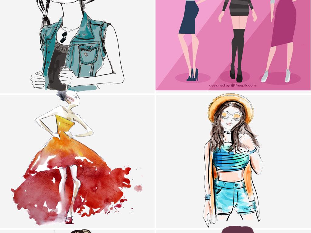 手绘美女模特服装人物设计ai矢量图