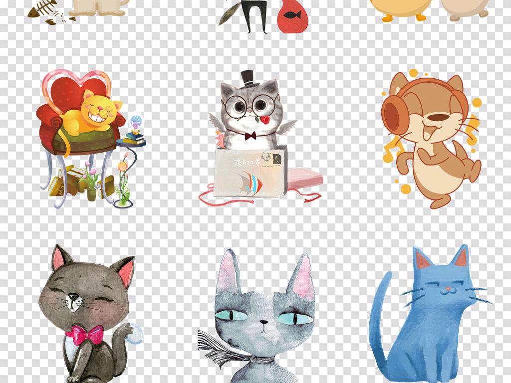 卡通手绘猫可爱小猫咪动物宠物海报png免扣素材