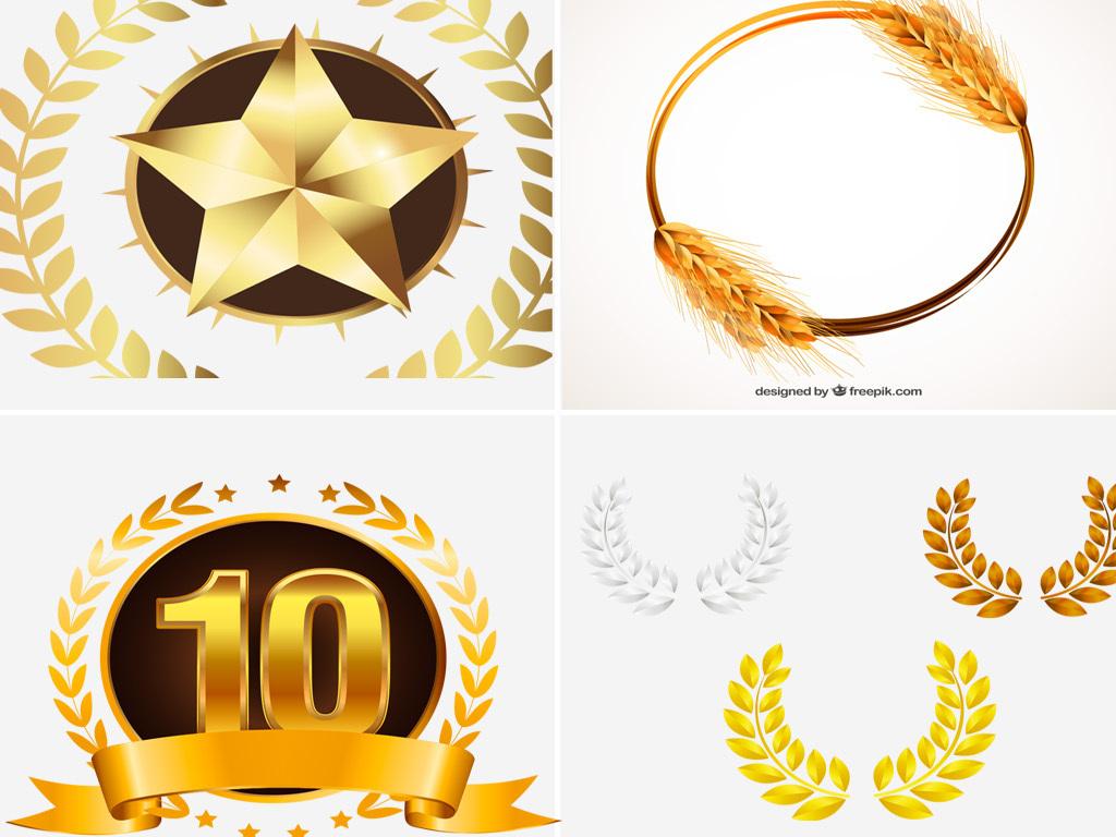 印章金色麦穗边框金色徽章矢量麦穗金色边框ai矢量精致徽章素材金色