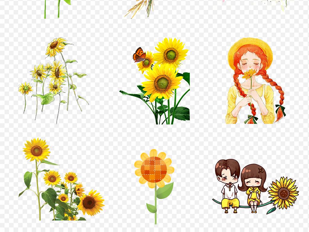 矢量向日葵背景手绘素材