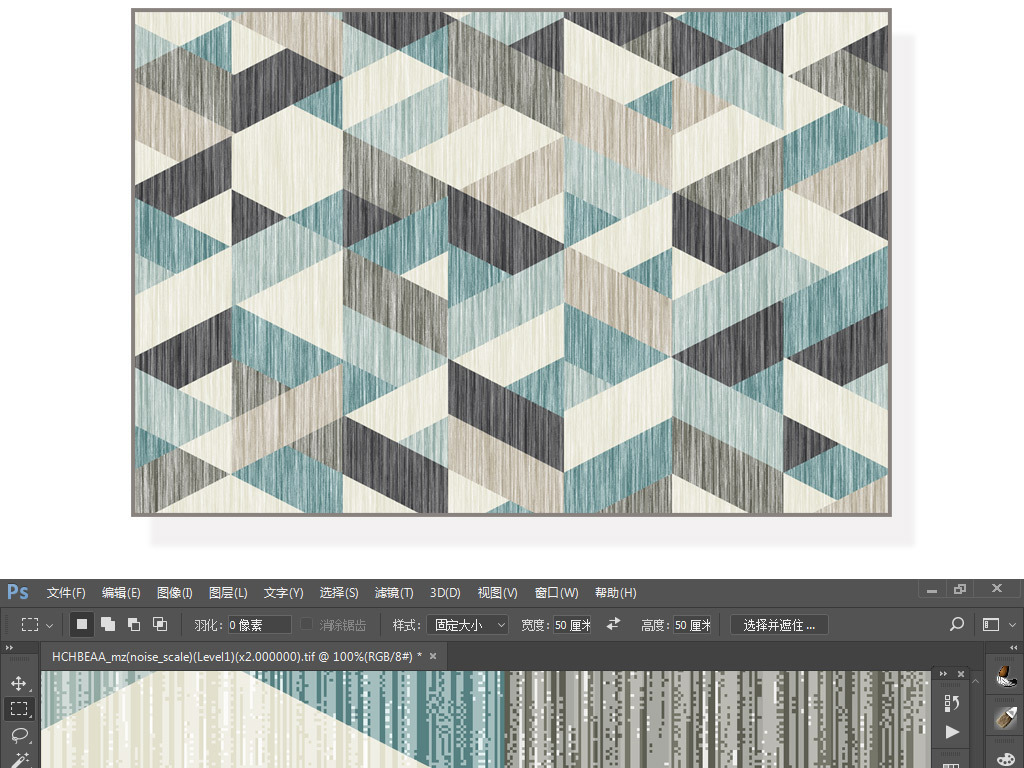 现代蓝色简约北欧立体几何地毯地垫图案设计图片
