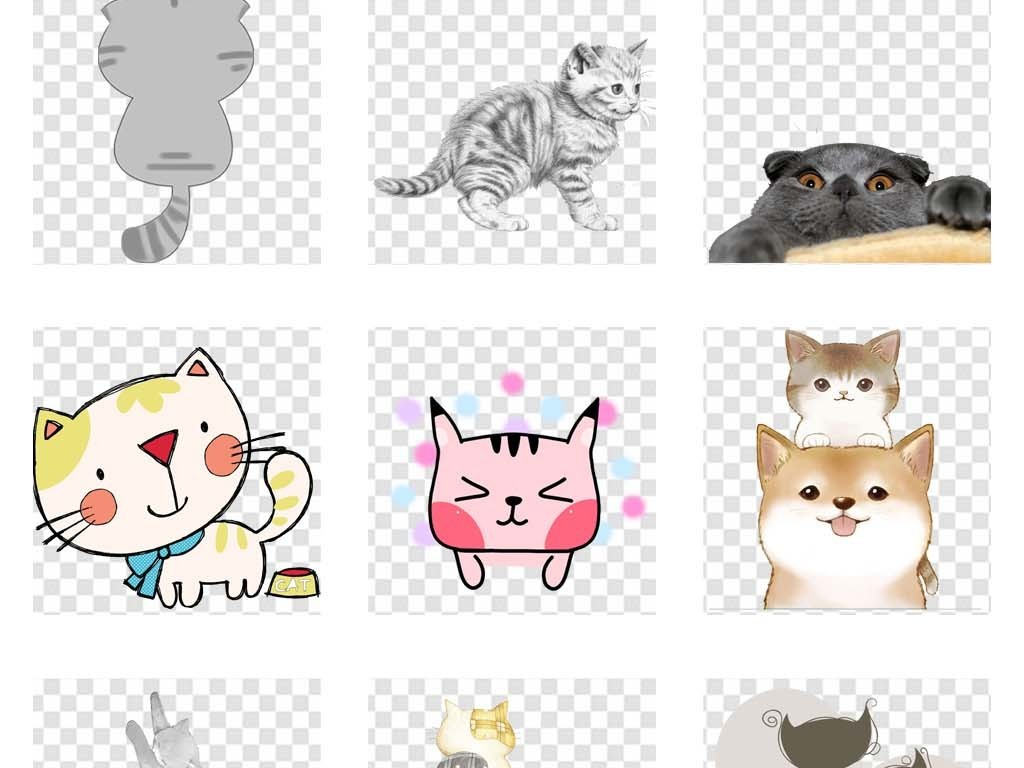 简笔画可爱手绘小猫可爱卡通卡通素材手绘猫咪猫背影后背卡通动物动物