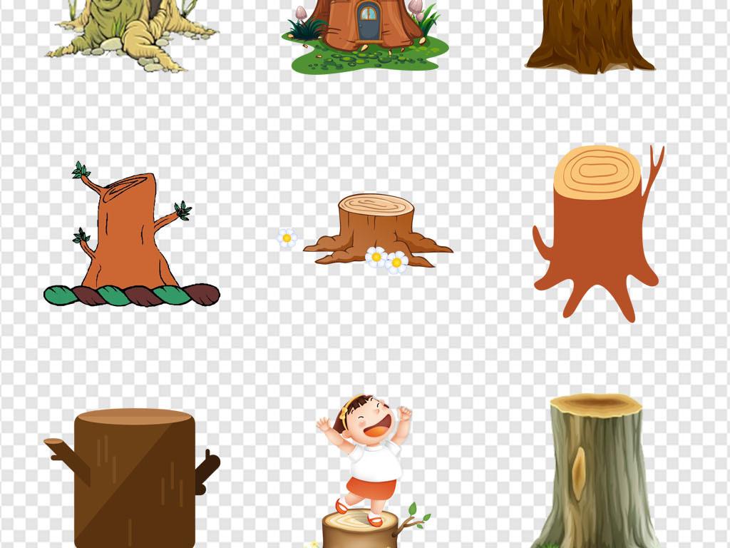 环保贴纸幼儿园保护森林砍伐树桩海报png素材