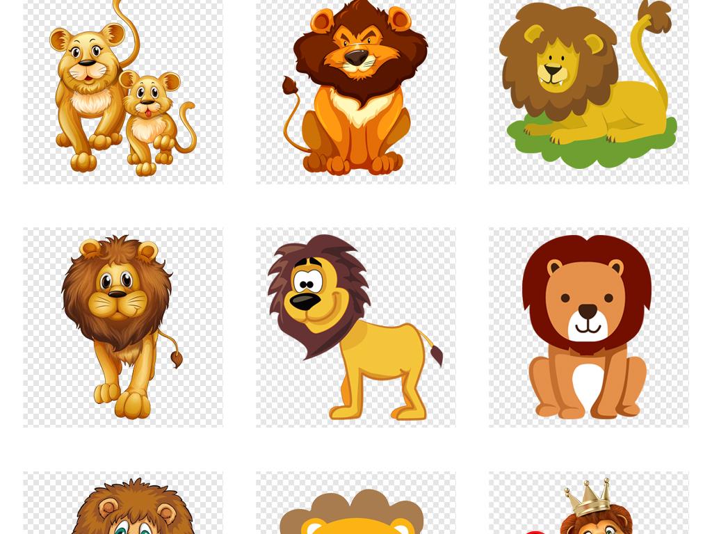 手绘狮子可爱动物素材动物狮子动物园幼儿园背景舞狮卡通动物动物素材