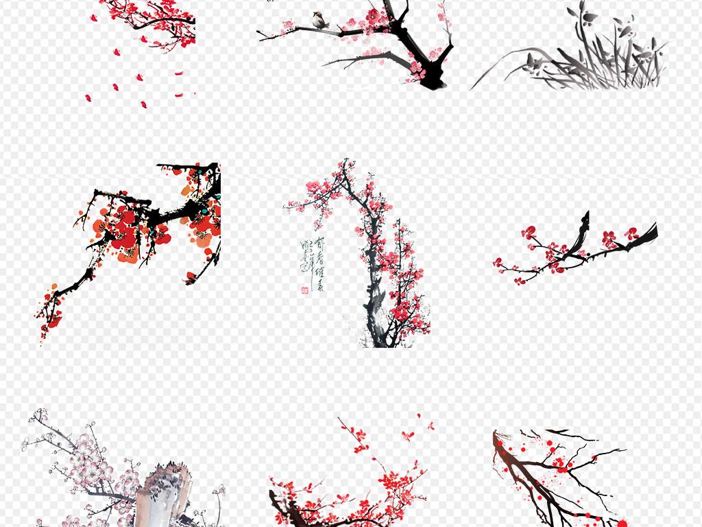 灯笼剪纸白梅花新年梅花水墨画梅花图矢量图树枝中国风古风