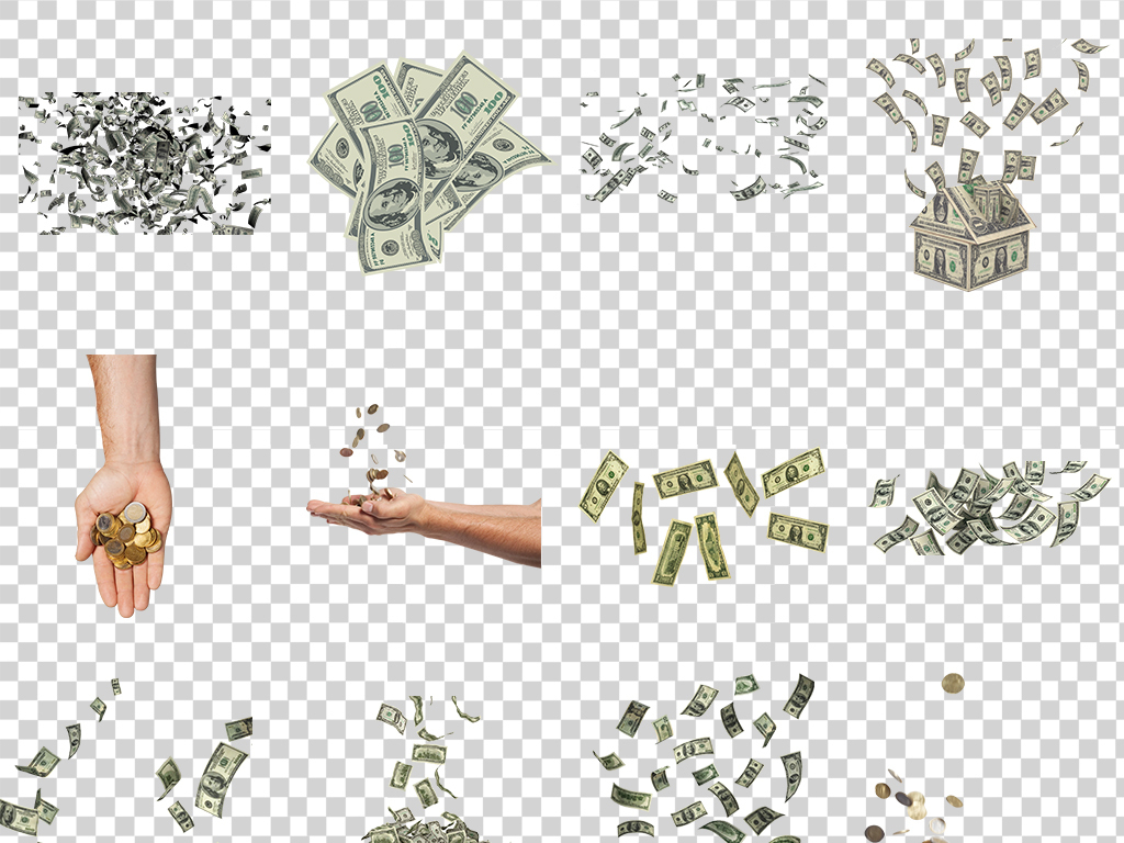 36款飘落的美元纸币png免抠透明图片PS促销金融海报免抠设计素材