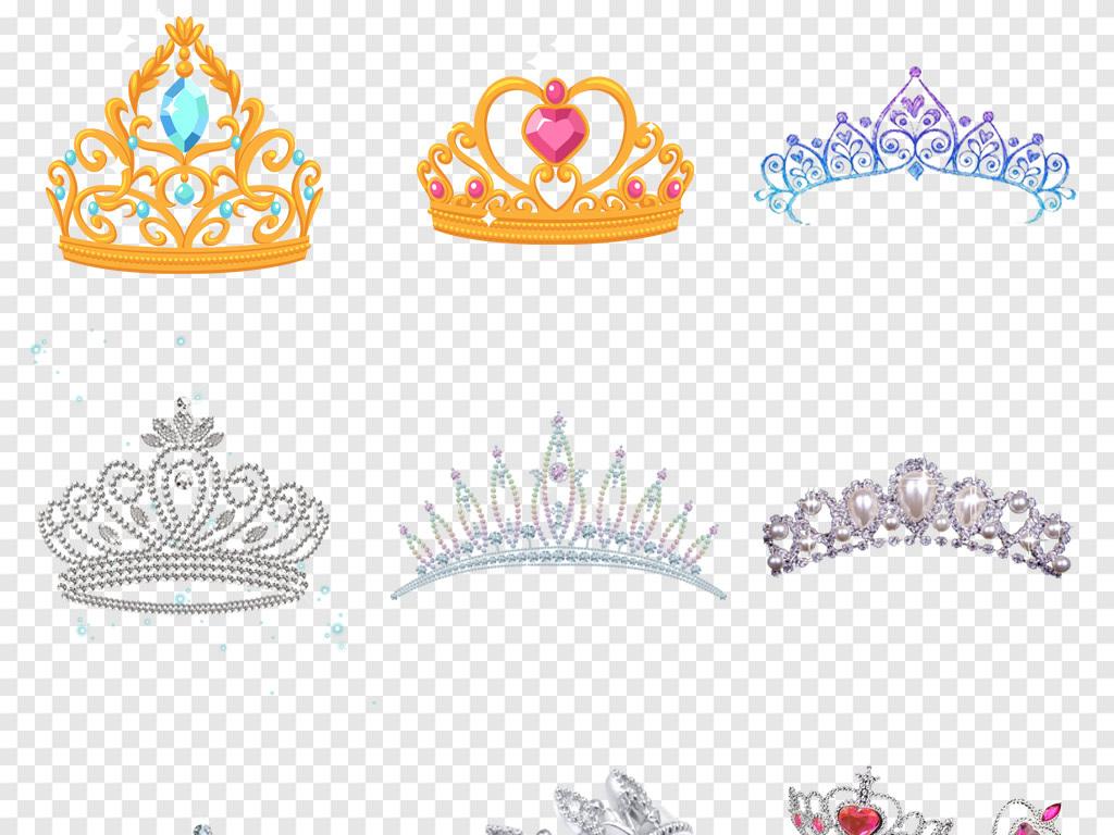 公主女王皇冠手绘皇冠卡通皇冠素材皇冠水晶钻石婚纱背景png背景钻石