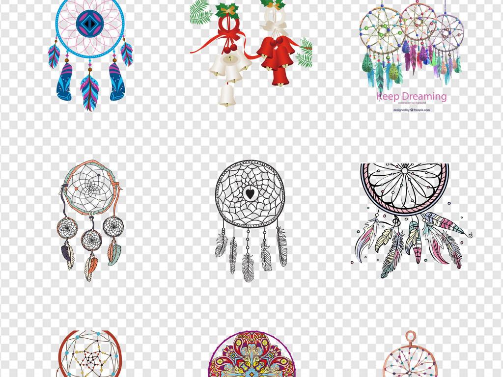 复古部落文化图腾手绘捕梦网风铃png素材
