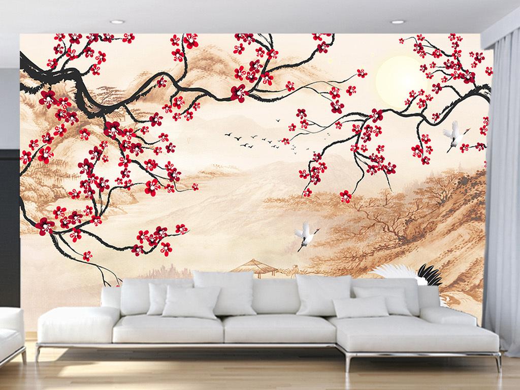 中式手绘梅花山水画客厅电视背景墙