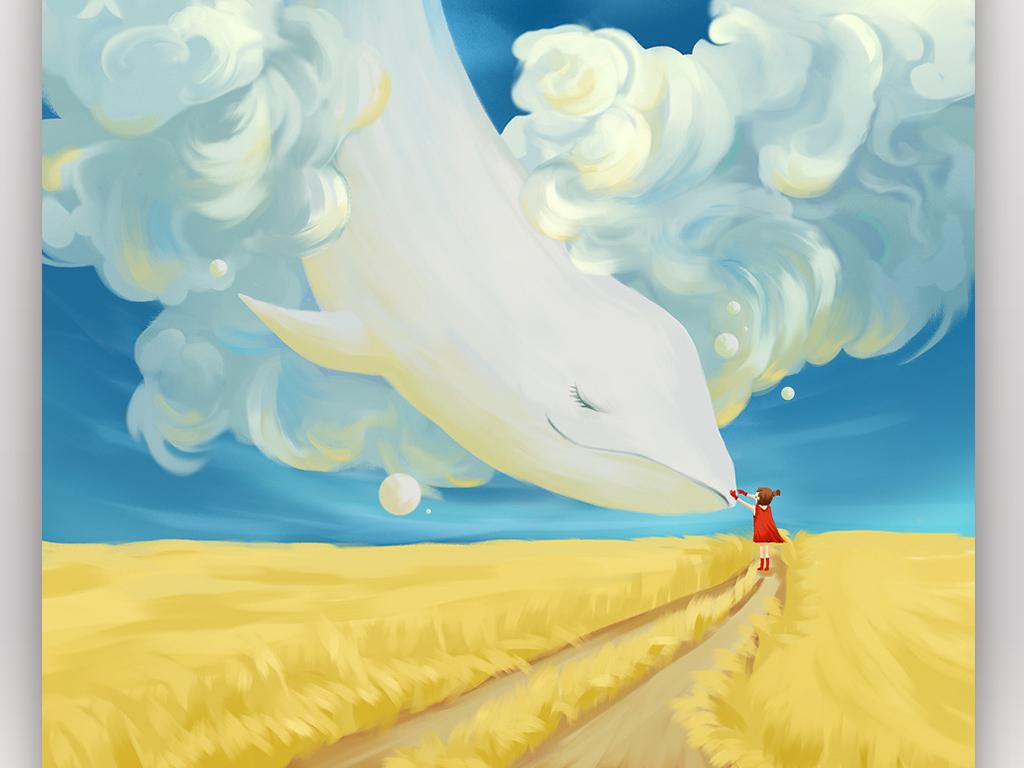 唯美鲸鱼手绘手机壁纸星空插图插画psd设计素材(5)