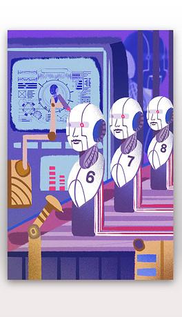 人工智能机器人未来科技科学卡通手绘漫画插画场景PSD矢量素材-08-