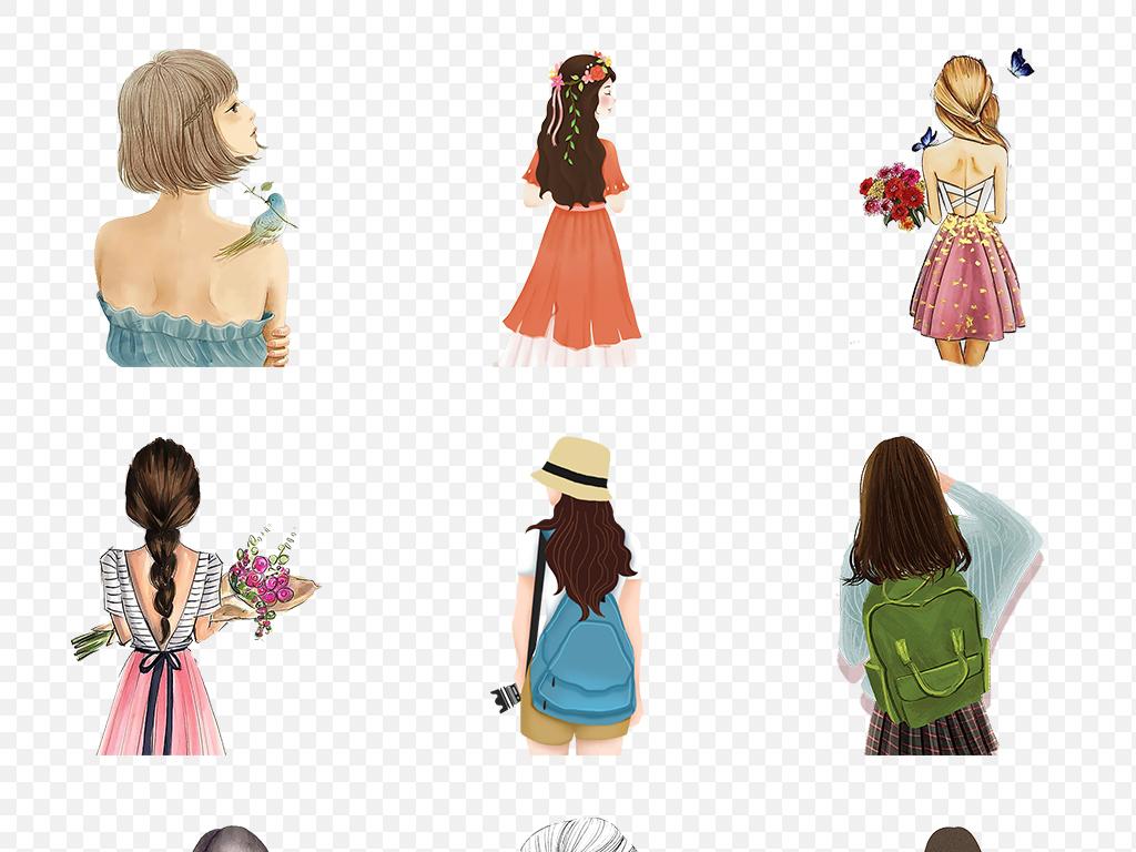 免抠元素 人物形象 美女 > 卡通手绘女孩彩绘人物背影文艺海报素材