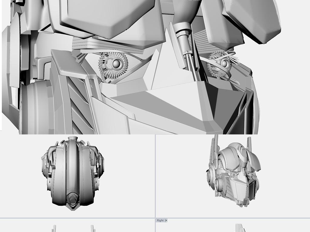 变形金刚头部犀牛3d精细模型keyshot渲染