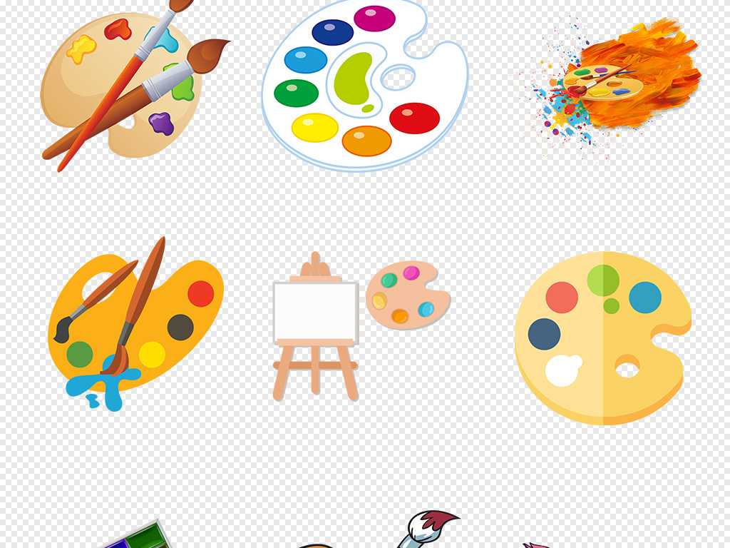 画画卡通调色盘手绘调色盘调色盘卡通颜料盘手绘颜料
