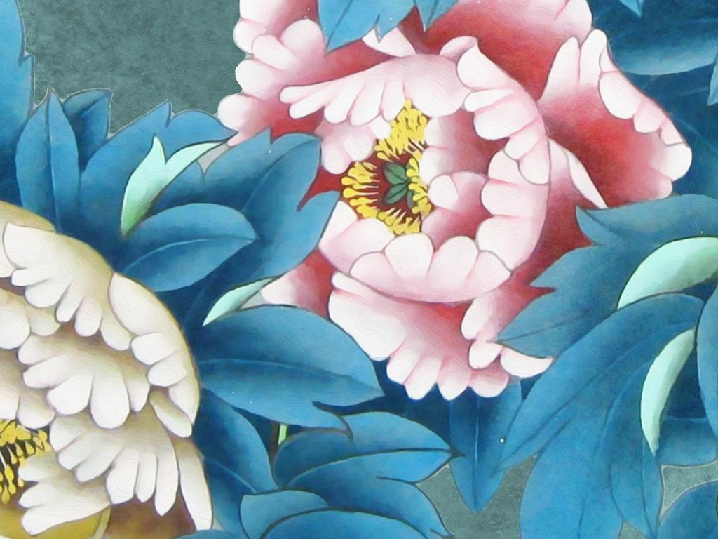 牡丹花山水风景古典中式地毯图片设计素材_高清psd(.