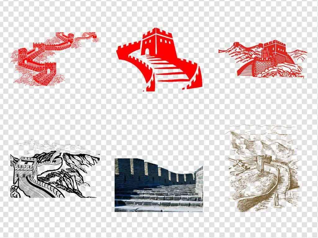 中华华夏标志建筑北京长城旅游海报手绘长城