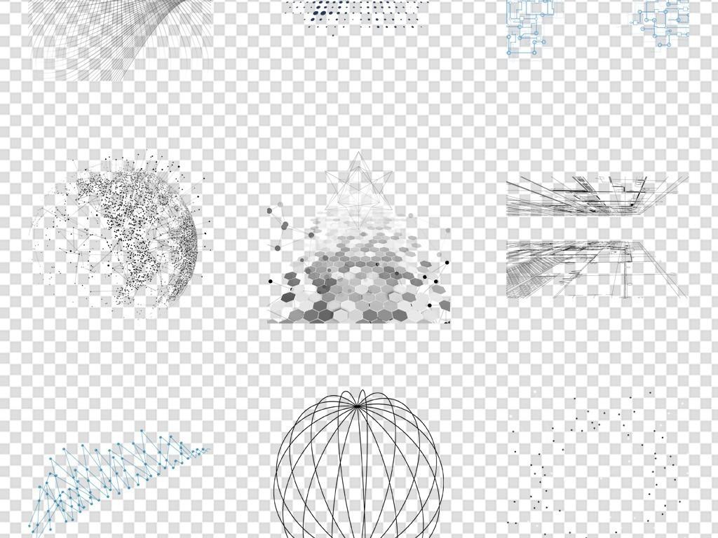 手绘抽象点线科技免扣元素png
