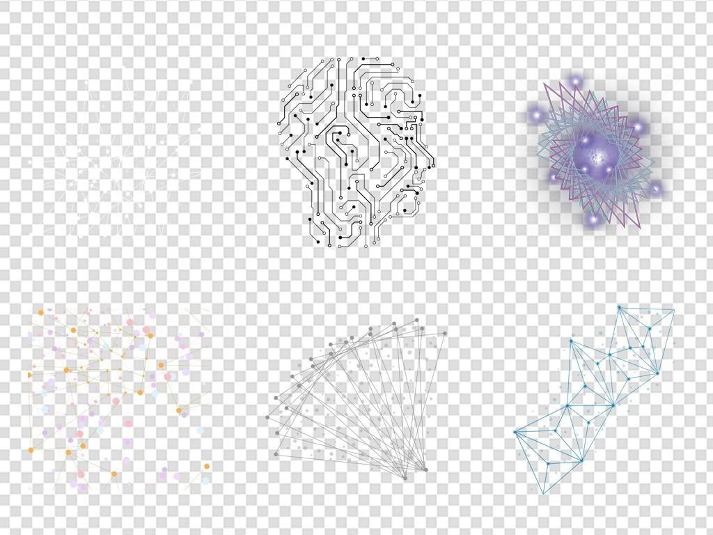 手绘抽象点线科技免扣元素png图片素材_模板下载(35.