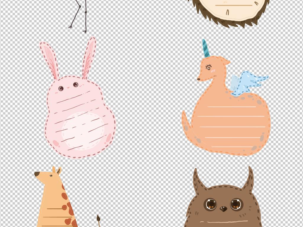 手绘动物贴纸对话框文本框手抄报海报素材