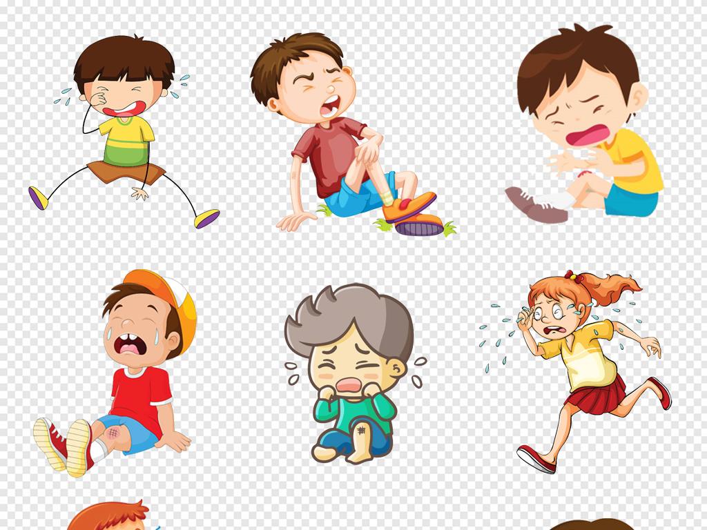 免抠元素 人物形象 动漫人物 > 卡通手绘女孩男孩哭泣的小孩儿童png