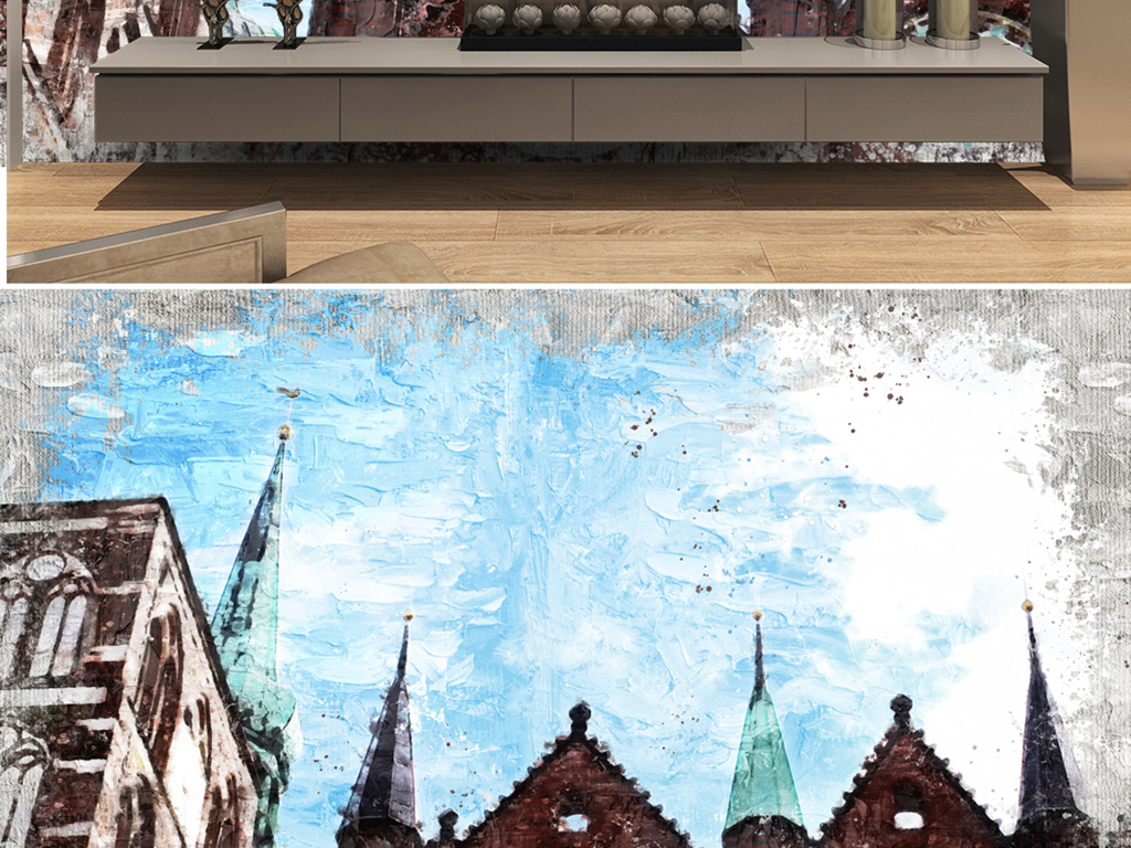 手绘柏林银行尖顶油画