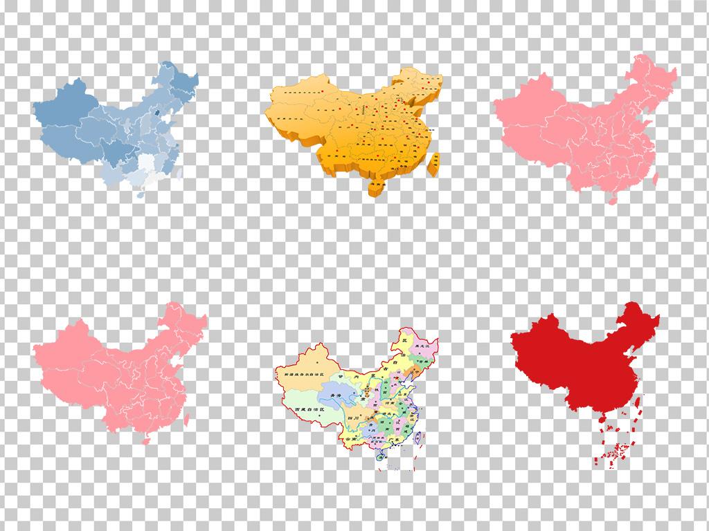 中国地图彩色创意中国地图素材免抠  素材图片参数: 软件 : photoshop
