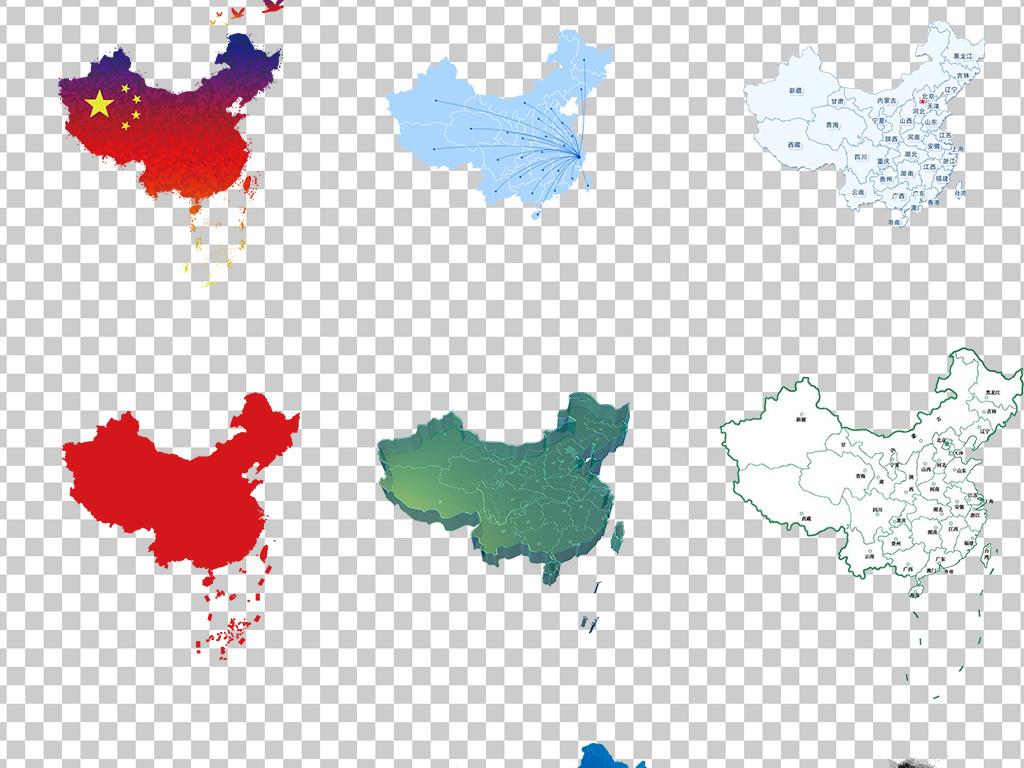 01375地图手绘中国地图彩色创意中国地图素材免抠