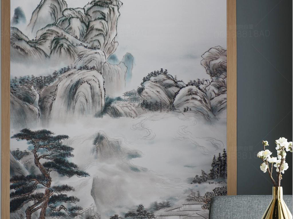 新中式钉子油画写意风景玄关
