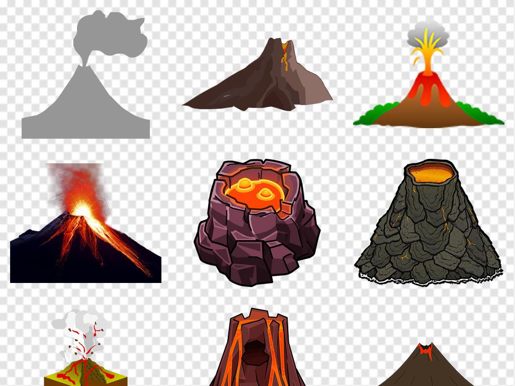 手绘卡通火山喷发图片png免抠素材