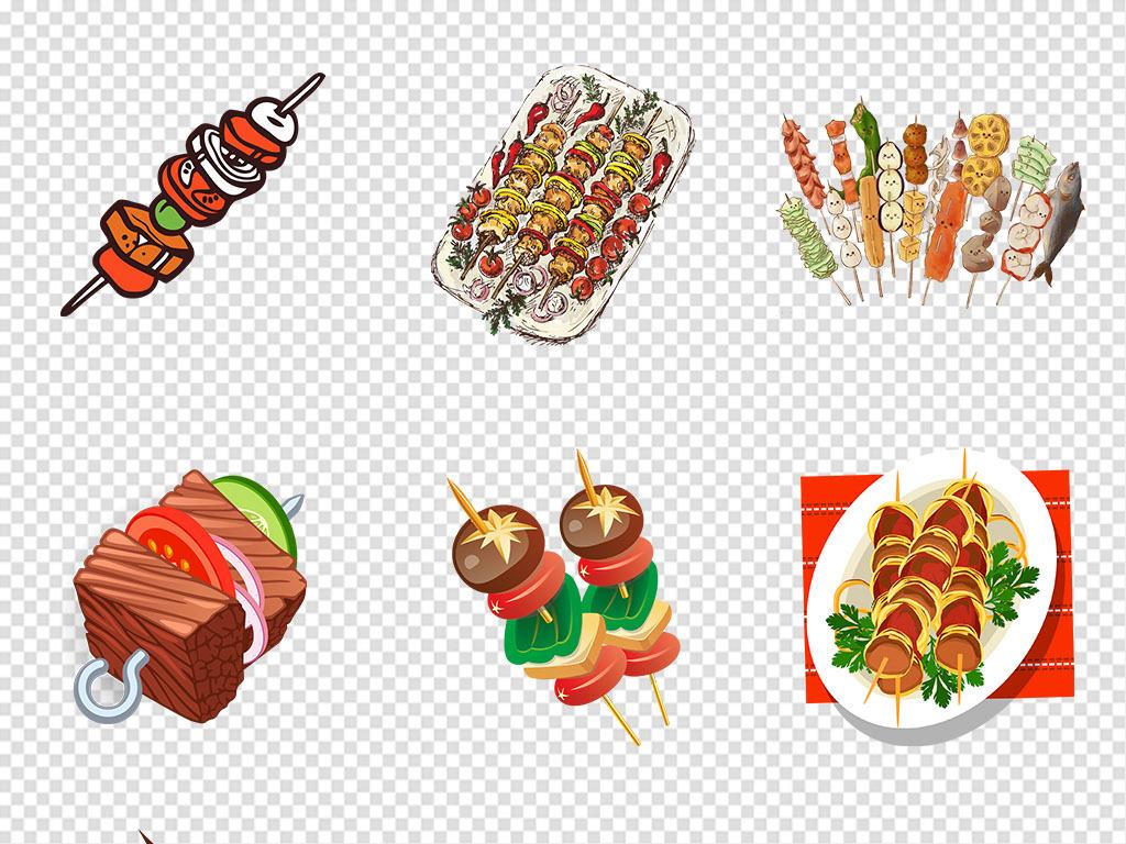 手绘烤串蔬菜烤串美食烤火腿肠卡通烤肠卡通背景烧烤素材png透明背景