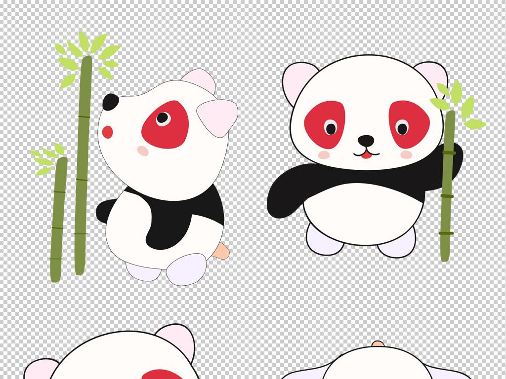 手绘可爱熊猫保护卡通动物png素材psd