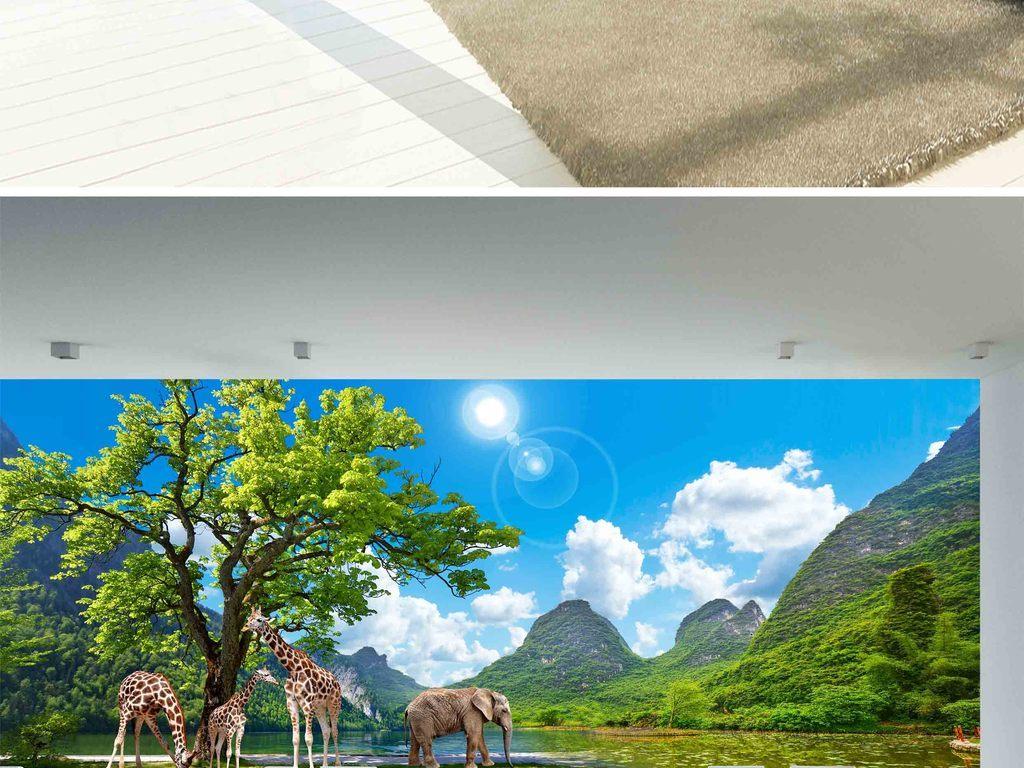 山水仙境动物长颈鹿大象风景画客厅背景墙